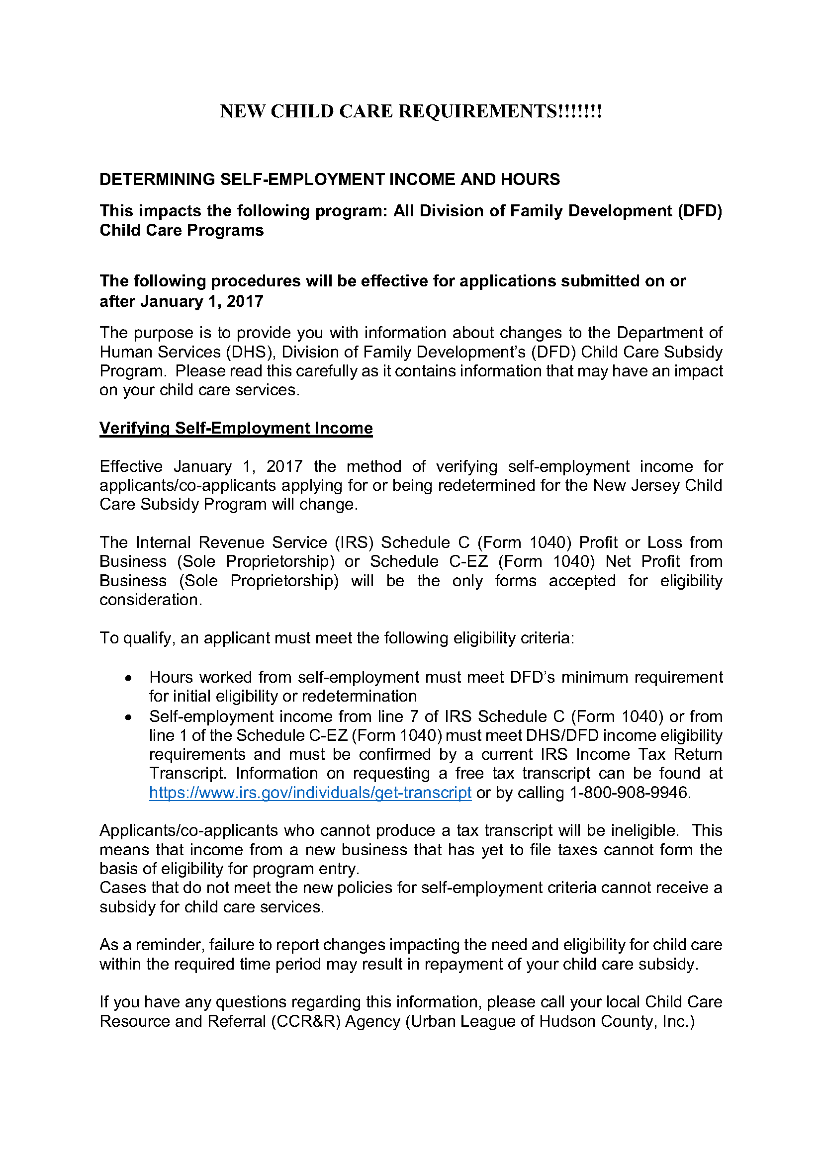 Urban League of Hudson County » Notice: Self Employed Child Care ...